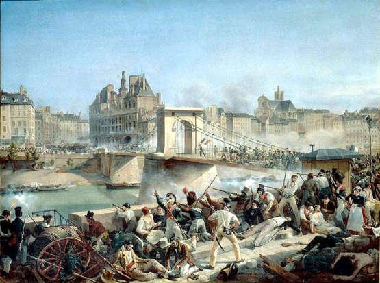 Amédée Bourgeois-Prise de l'Hôtel de Ville : le Pont d'Arcole