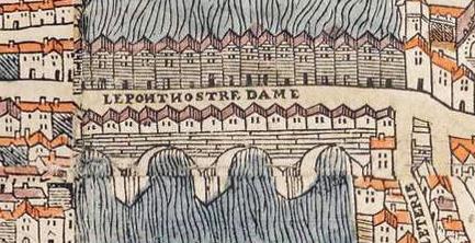 Le pont vers 1550 (plan de Truschet et Hoyau)