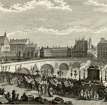 Cortège funéraire de Voltaire avant le passage du Pont Royal